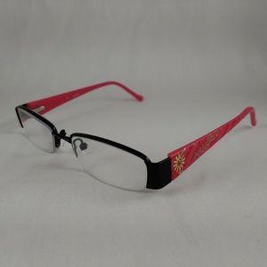 GUESS Rx Girls Eyeglasses Hot Pink Black Half Rim